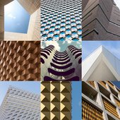 tiled photographs of the facades of buildings