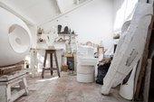 Interior view of a plaster workshop at Barbara Hepworth's studio