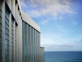 architectural shot of Tate St Ives building
