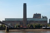 View of Tate modern building from St Pauls, showing the Thames and bridge