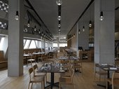 Tate Modern restaurant set up with wine glasses