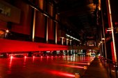 red light in the turbine hall