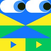 A pair of eyes look right, with geometric green, yellow and blue shapes beneath