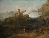J.M.W.Turner Mountain Scene with Castle, Probably Martigny c.1802–3