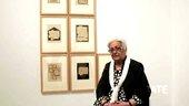 Zarina Hashmi with her work