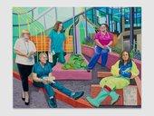 Aliza Nisenbaum Team Time Storytelling, Steven Gerrard Garden, Alder Hey Children's Hospital Emergency Department, Covid Pandemic 2020 © Aliza Nisenbaum. Photography by Jeff McLane, courtesy the artist and Anton Kern Gallery, New York