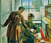 Maria Bri-Bein Female Telegraph Operators 1933 Oil on canvas 136 x 149 cm Courtesy Tretyakov Gallery, Moscow