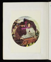 Postcard attached to page featuring reproduction of Ford Madox Brown's 'The Last of England'