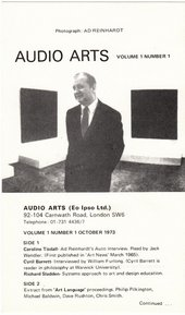 The inlay from Audio Arts Volume 1, No. 1, TGA-200414/7/3/1