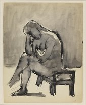 Josef Herman Sketch of a nude seated on low stool