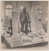 Rodin in his studio in Meudon, Paris in 1902, black and white photograph