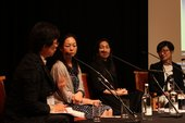 Panel of speakers onstage at Transnational Cities: Tokyo and London, Tate Britain, 29 September 2017