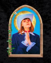 portrait of a woman in a mock stained glass window praying