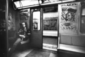 Photograph of Keith Haring in a New York subway car