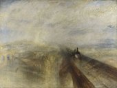 painting of a steam train in the distance showing a cloudy day