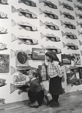 Magnus and Cora Bischofberger at Andy Warhol's exhibition 'Paintings for Children' at Galerie Bruno Bischofberger, Zurich 1983