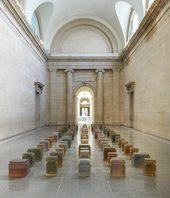 a grid of resin colour blocks in Tate Britain Duveen gallery space