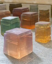 close-up photograph of resin colour blocks