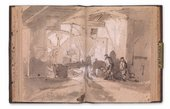 A spread from Turner's sketchbook showing the interior of a tilt forge