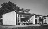View of the classroom wing at Impington Village College, Cambridgeshire, designed by Walter Gropius and Maxwell Fry, 1938–9