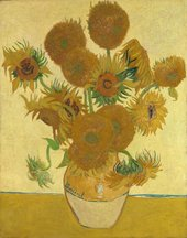 Painting of a vase of sunflowers by van Gogh