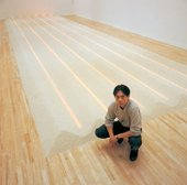 Vong Phaophanit with Neon Rice Field at the 1993 exhibition © Tate photography