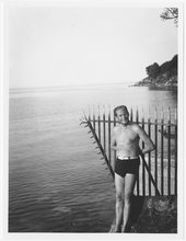 Walter Gropius by the sea during a trip to Totnes, Devon, 1933