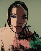 Pink and green painting with black screen print of a drag performer