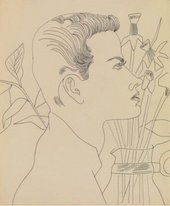 Pencil drawing of side profile of a young man with bunch of flowers in vase behind him