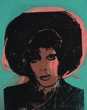 Green and pink painting with black screen print of drag performer