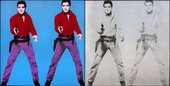Screen print of Elvis Presley repeated four times. Two in bright blue, purple and red, two in black and white