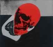 Screen print of a skull in red, black and grey