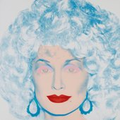 Dolly Parton pictured with blue hair and red lipstick