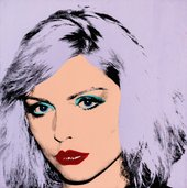 Warhol screen print portrait of Debbie Harry with lilac paint