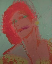 Red and green painting with screen print of a drag performer