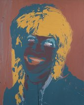 Green, yellow and red painted background with screen print of drag performer