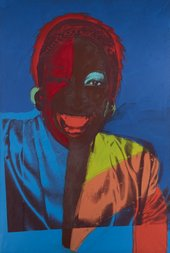 Red and blue painting with screen print of drag performer