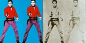 Repeated screen print of Elvis Presley