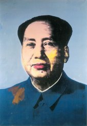 Colour screen print of head and shoulders of Chairman Mao