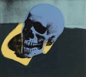 Screen print of a skull in blues, yellow and dark green