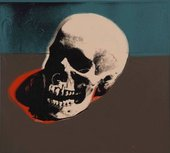 Screen print of a skull in beige, blue and brown with a hint of red
