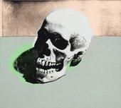 Screen print of a skull in grey, pale green and beige