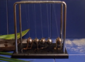 Closeup photo of a Newton's Cradle