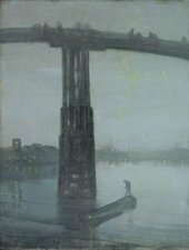 impressionist grey and blue coloured painting of a bridge and some boats on the river