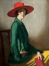 A painting of a woman wearing a red hat, green coat and yellow skirt
