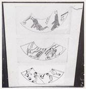 Photograph of designs for candle shades by Wyndham Lewis for the Omega Workshops, 1913 © Tate Archive