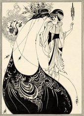 illustration showing 2 characters in decadent dress facing one another