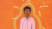 Image of Yinka Shonibare cartoon drawing as a teenager, he's wearing a pink shirt and on an orange background