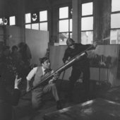 Yves Klein realising Fire Painting 1961