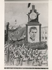 Celebratory procession featuring a portrait of N. Yezhov, head of NKVD in 1936-38 c. 1936-38. Tate Library and Archive